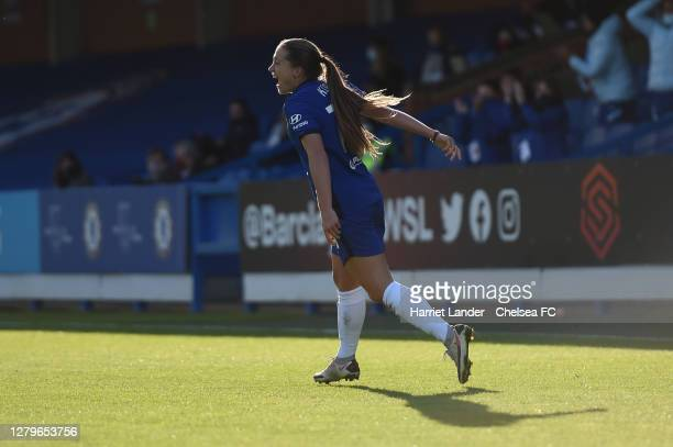 Fran Kirby of Chelsea celebrates after scoring her team's third goal during the Barclays FA Women's Super League match between Chelsea Women and...