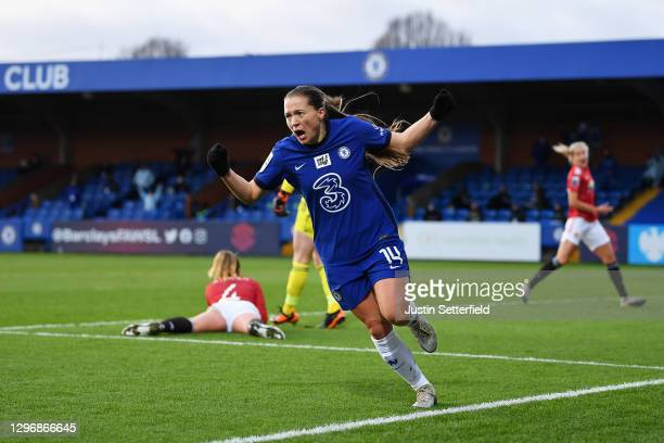 Fran Kirby of Chelsea celebrates after scoring their team's second goal during the Barclays FA Women's Super League match between Chelsea Women and...