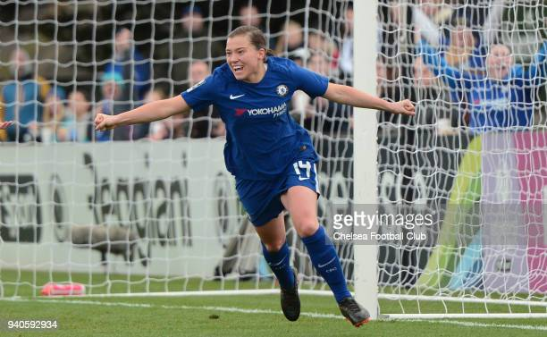 Fran Kirby of Chelsea celebrates after she scores to make it 10 during a WSL match between Arsenal Ladies and Chelsea Ladies at Meadow Park on April...