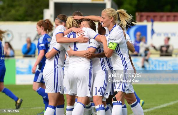 Fran Kirby of Chelsea celebrates after she scores to make it 20 during the WS1 match between Birmingham City Ladies and Chelsea Ladies at The...
