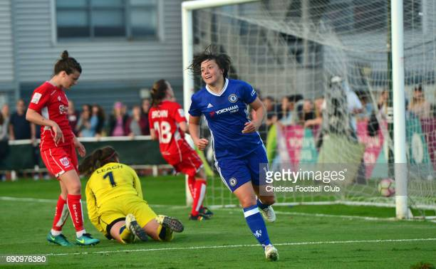Fran Kirby of Chelsea celebrates after she scores to make it 3-0 during a WSL 1 match between Bristol City Women and Chelsea Ladies at the Stoke...