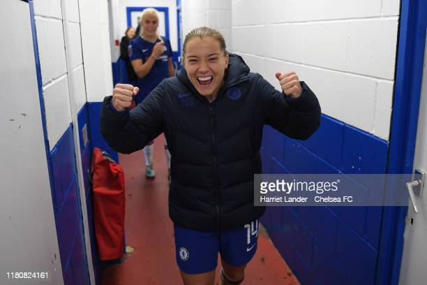 Fran Kirby of Chelsea celebrates following her team's victory in the Barclays FA Women's Super League match between Chelsea and Arsenal at...
