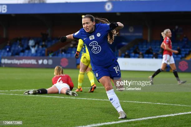 Fran Kirby of Chelsea celebrates scoring the 2nd Chelsea goal during the Barclays FA Women's Super League match between Chelsea Women and Manchester...