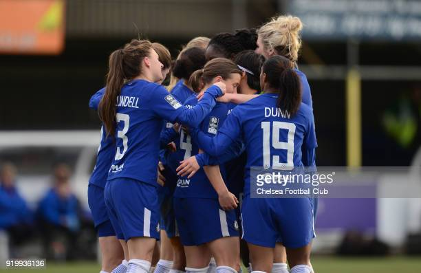 Fran Kirby of Chelsea celebrates with her team mates after she scores to make it 20 during a FA Women's Cup 5th Round match between Chelsea and...