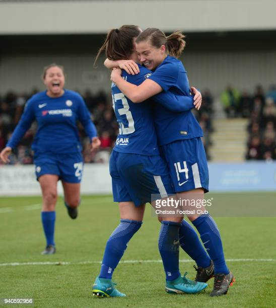 Fran Kirby of Chelsea celebrates with her team mates after she scores to make it 10 during a WSL match between Arsenal Ladies and Chelsea Ladies at...