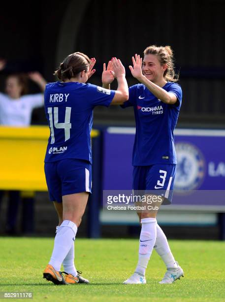 Fran Kirby of Chelsea celebrates with tea mate Maren Mjelde after scoring to put her side 20 up during a WSL Match between Chelsea Ladies and Bristol...