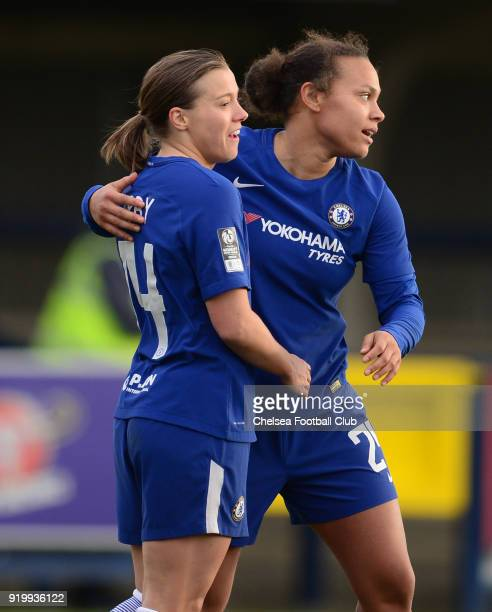 Fran Kirby of Chelsea celebrates with team mate Drew Spence after she scores to make it 20 during a FA Women's Cup 5th Round match between Chelsea...
