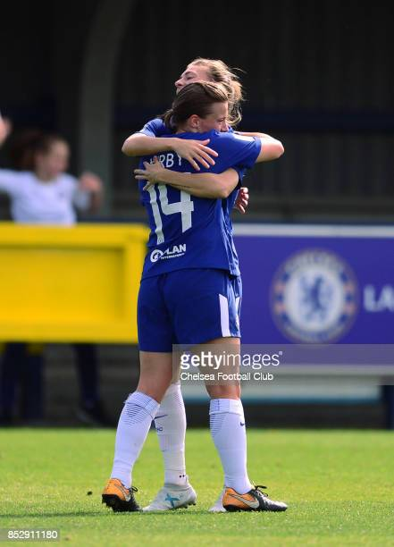 Fran Kirby of Chelsea celebrates with team mate Maren Mjelde after scoring to put her side 20 up during a WSL Match between Chelsea Ladies and...