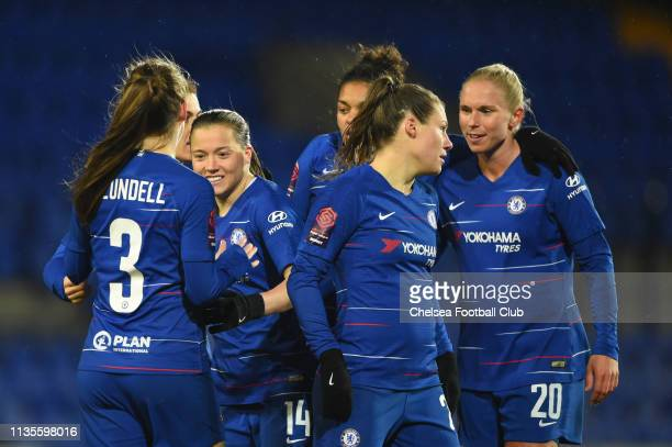 Fran Kirby of Chelsea celebrates with teammates after scoring her team's third goal the FA WSL match between Liverpool Women and Chelsea Women at...