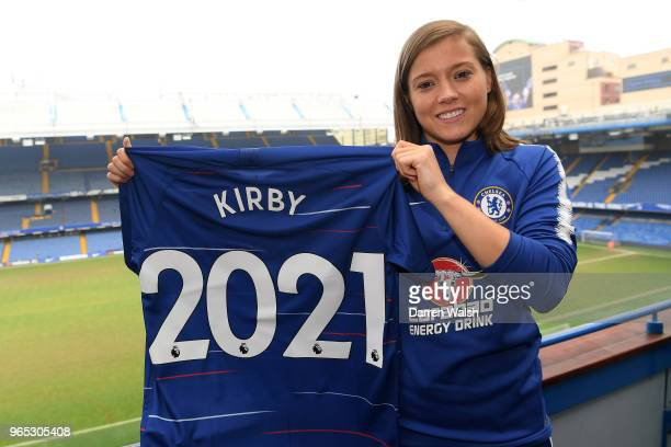 Fran Kirby of Chelsea FC Women poses as she signs a new contract lasting untill 2021at Stamford Bridge on May 31 2018 in London England