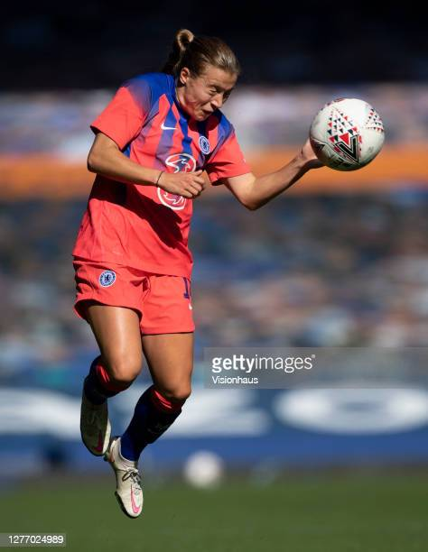 Fran Kirby of Chelsea heads the ball during the Womens FA Cup Quarter Final match between Everton FC and Chelsea FC at Goodison Park on September 27...