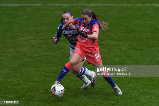 Fran Kirby of Chelsea is challenged by Lily Woodham of Reading during the Barclays FA Women's Super League match between Reading Women and Chelsea...