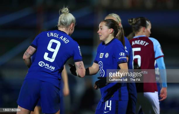 Fran Kirby of Chelsea is congratulated by team mate Bethany England after scoring their side's fifth goal during the FA Women's Continental League...