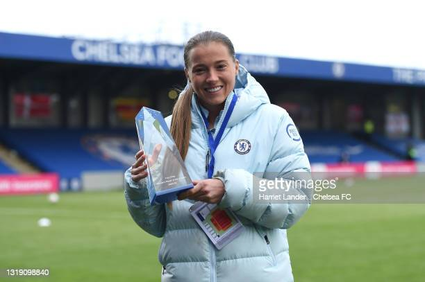 Fran Kirby of Chelsea poses for a photo with her Chelsea Player of the Season award prior to the Vitality Women's FA Cup 5th Round match between...