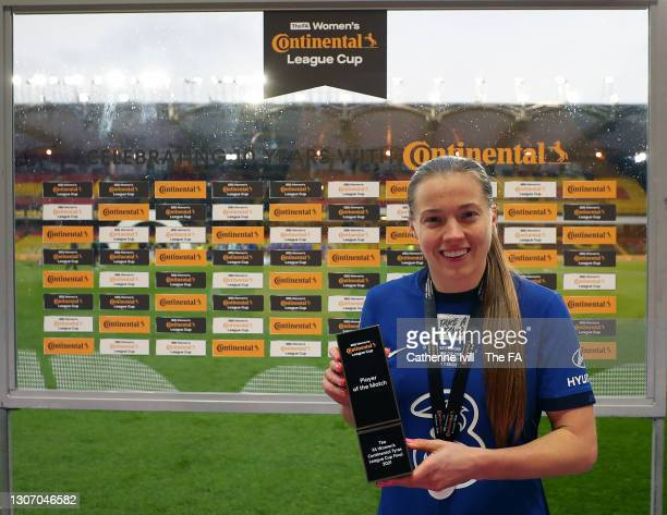 Fran Kirby of Chelsea poses for a photo with the Player of the Match award following the FA Women's Continental Tyres League Cup Final match between...
