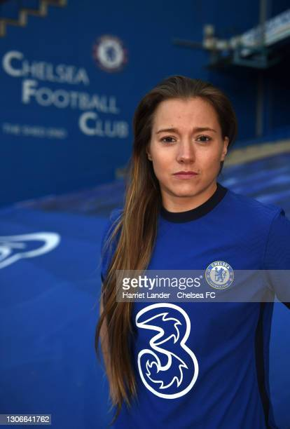 Fran Kirby of Chelsea poses for a photograph as she signs a contract extension with Chelsea FC Women at Stamford Bridge on March 12, 2021 in London,...