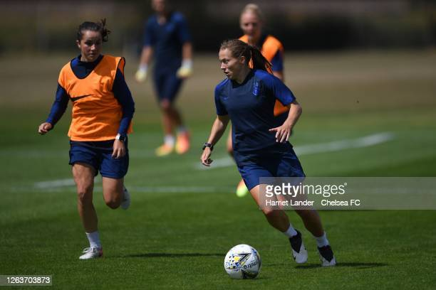 Fran Kirby of Chelsea runs with the ball during a Chelsea FC Women's Training Session at Chelsea Training Ground on August 03 2020 in Cobham England