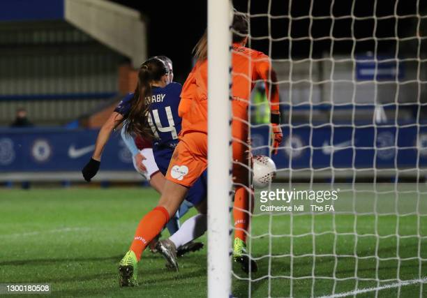 Fran Kirby of Chelsea scores her team's fifth goal during the FA Women's Continental League Cup Semi Final match between Chelsea and West Ham United...