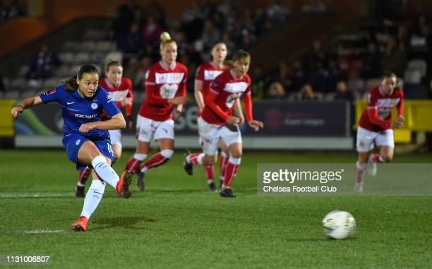 Fran Kirby of Chelsea scores her team's fifth goal during the FA WSL match between Chelsea Women and Bristol City Women at Kingsmeadow on February 20...