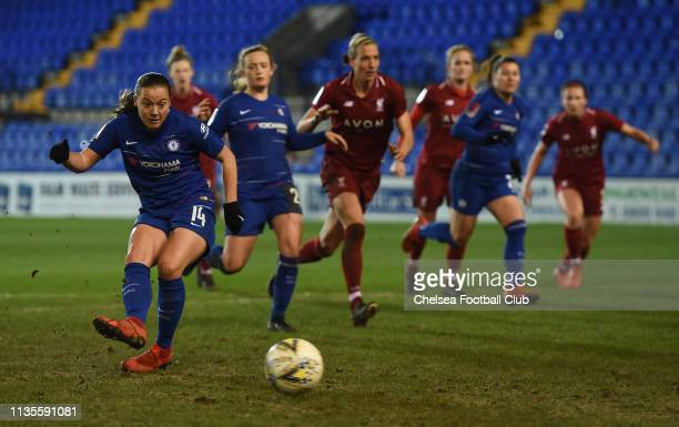 Fran Kirby of Chelsea scores her team's second goal the FA WSL match between Liverpool Women and Chelsea Women at Prenton Park on March 13 2019 in...