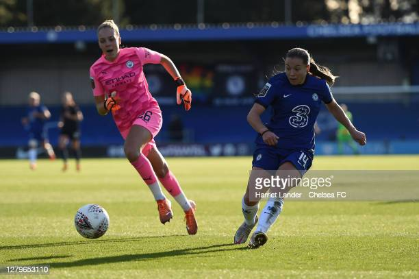 Fran Kirby of Chelsea scores her team's third goal during the Barclays FA Women's Super League match between Chelsea Women and Manchester City Women...