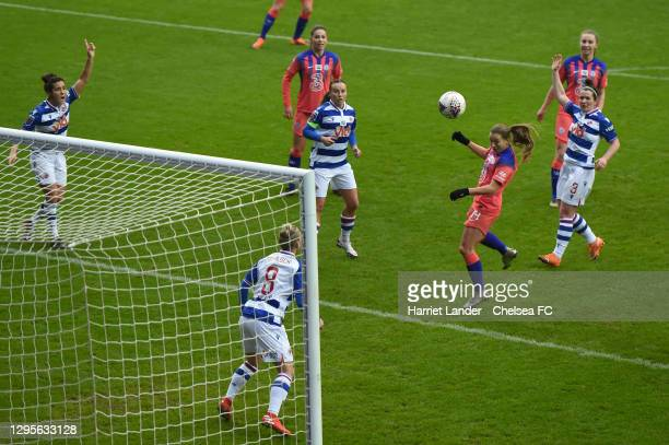 Fran Kirby of Chelsea scores her team's third goal during the Barclays FA Women's Super League match between Reading Women and Chelsea Women at...