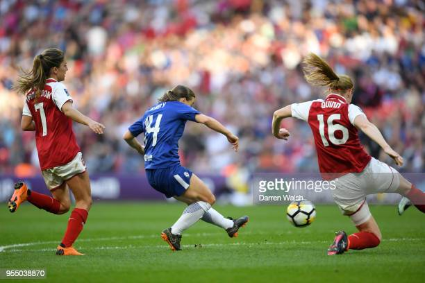 Fran Kirby of Chelsea scores her team's third goal of the game during the SSE Women's FA Cup Final match between Arsenal Women and Chelsea Ladies at...