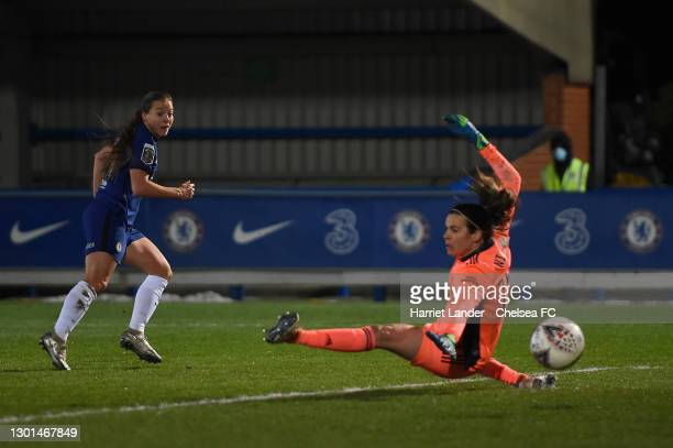 Fran Kirby of Chelsea scores her team's third goal past Lydia Williams of Arsenal during the Barclays FA Women's Super League match between Chelsea...