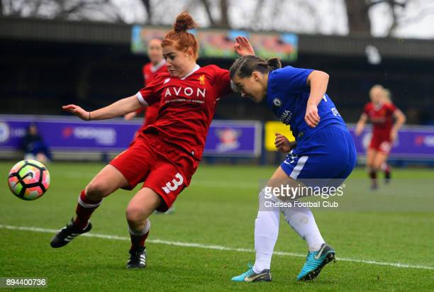 Fran Kirby of Chelsea scores to make it 10 during a WSL match between Chelsea Ladies and Liverpool Ladies at The Cherry Red Records Stadium on...