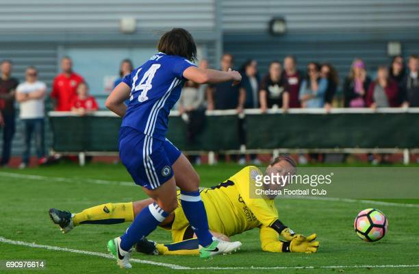 Fran Kirby of Chelsea scores to make it 3-0 during a WSL 1 match between Bristol City Women and Chelsea Ladies at the Stoke Gifford Stadium on May...