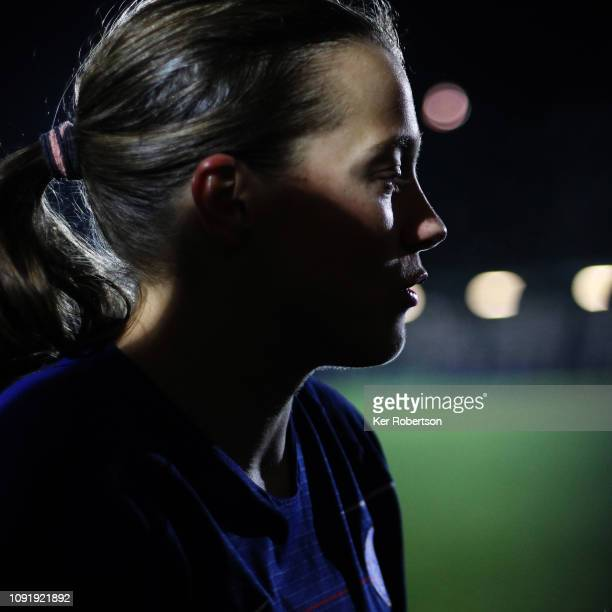 Fran Kirby of Chelsea Women is interviewed following the Chelsea Women v Reading Women FA Continental Tyres Cup match at The Cherry Red Records...