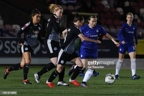 Fran Kirby of Chelsea Women runs at the Reading Women's defence during the Chelsea Women v Reading Women FA Continental Tyres Cup match at The Cherry...