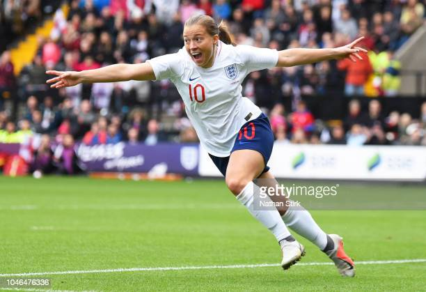 Fran Kirby of England celebrates after scoring the first goal of the game during the International Friendly match between England Women and Brazil...