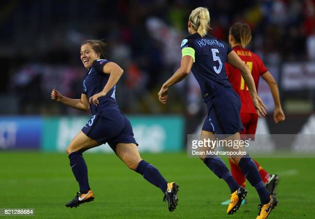 Fran Kirby of England celebrates after scoring the opening goal of the game during the UEFA Women's Euro 2017 Group D match between England and Spain...