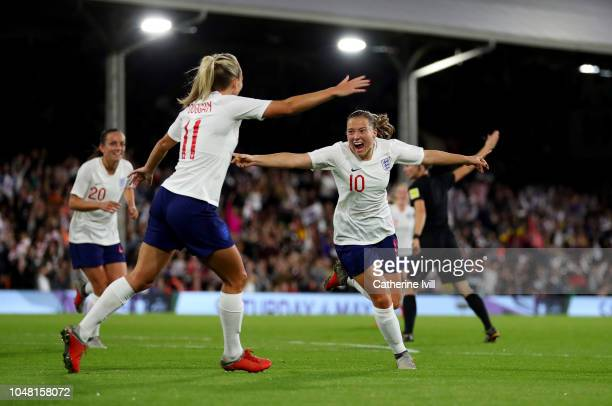 Fran Kirby of England celebrates after she scores the first goal during the International Friendly between England Women and Australia Women at...