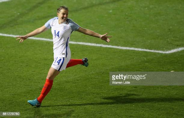 Fran Kirby of England celebrates scoring a goal during the FIFA Women's World Cup Qualifier match between England and Kazakhstan at the Weston Homes...