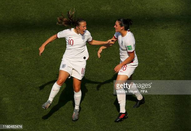 Fran Kirby of England celebrates with teammate Jade Moore after scoring her team's first goal during the 2019 FIFA Women's World Cup France 3rd Place...