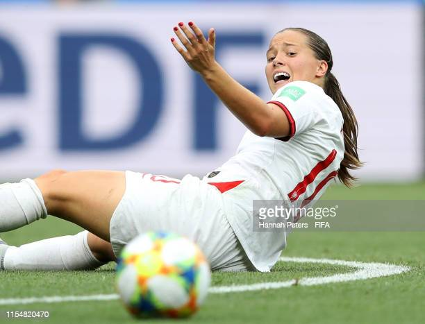 Fran Kirby of England reacts during the 2019 FIFA Women's World Cup France group D match between England and Scotland at Stade de Nice on June 09...