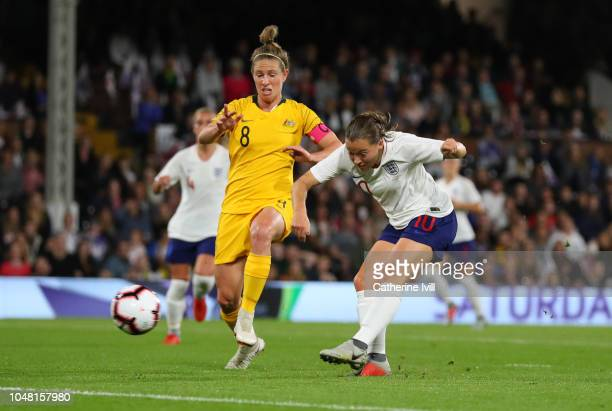Fran Kirby of England scores the first goal during the International Friendly between England Women and Australia Women at Craven Cottage on October...