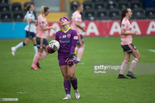 Fran Kitching gestures during the 2020-21 FA Womens Cup fixture between Tottenham Hotspur and Sheffield United at The Hive on May 16, 2021 in Barnet,...