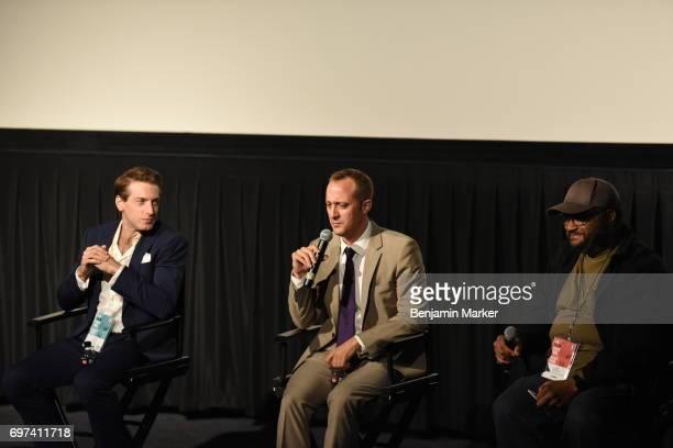 Fran Kranz Casey Wilder Mott and LAFF programmer Jeffy Branion speak at 'A Midsummer Night's Dream' Premiere during the 2017 Los Angeles Film...