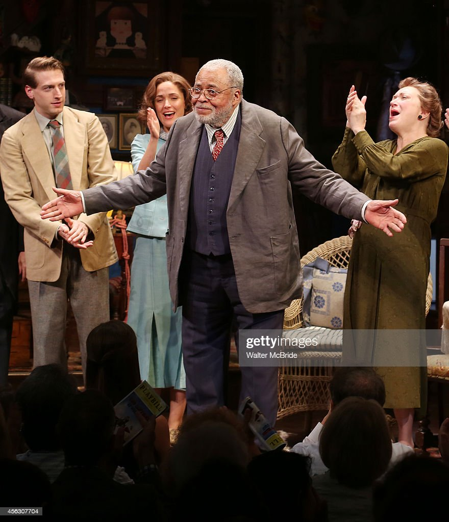 Fran Kranz, Rose Byrne, James Earl Jones and Kristine Nielsen during the Broadway Opening Night performance Curtain Call for 'You Can't Take It With You' at the Longarce Theatre on September 28, 2014 in New York City.