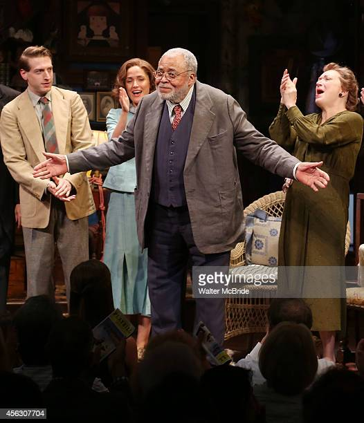 Fran Kranz, Rose Byrne, James Earl Jones and Kristine Nielsen during the Broadway Opening Night performance Curtain Call for 'You Can't Take It With...