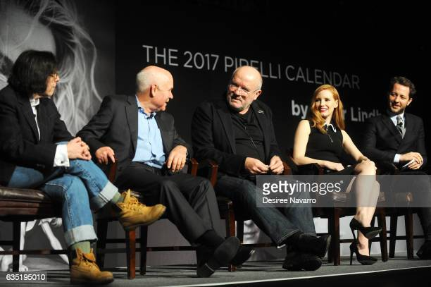 Fran Lebowitz Steve McCurry Peter Lindbergh Jessica Chastain and Derek Blasberg attend The Pirelli Calendar Presents Peter Lindbergh On Beauty at...