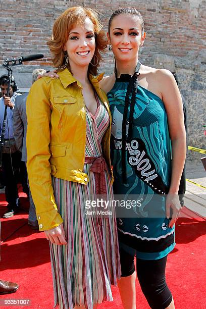 Fran Merica and Anette Michel pose during the ceremony to lay the cornerstone of TV Azteca's new complex of telenovela production on November 23 2009...