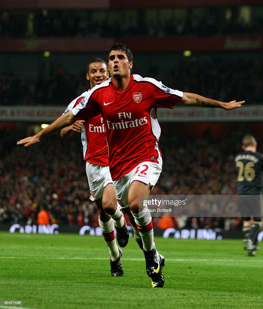 Fran Merida of Arsenal celebrates after scoring during the Carling Cup 4th Round match between Arsenal and Liverpool at the Emirates Stadium on October 28, 2009 in London, England.