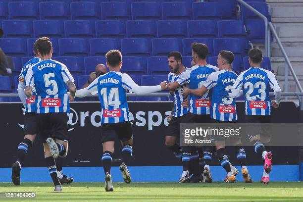 Fran Merida of RCD Espanyol celebrates scoring his side's first goal in the 4th minute during the La Liga Smartbank match between RCD Espanyol and...