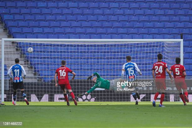 Fran Merida of RCD Espanyol scores his side's first goal for 1-0 in the 4th minute during the La Liga Smartbank match between RCD Espanyol and...