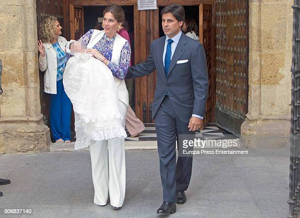 Fran Rivera and Lourdes Montes attend the christening of their daughter Carmen Rivera on October 23 2015 in Seville Spain