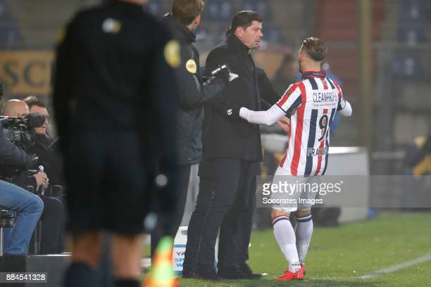 Fran Sol of Willem II celebrates 10 with coach Erwin van de Looi of Willem II during the Dutch Eredivisie match between Willem II v Heracles Almelo...
